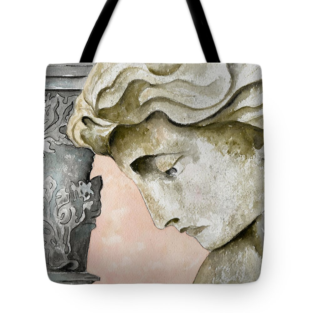 Watercolor Tote Bag featuring the painting Introspective by Brenda Owen