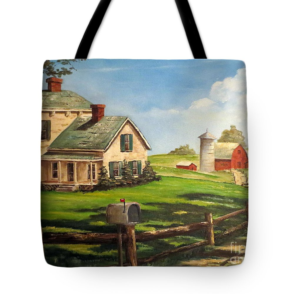 Farm Painting Tote Bag featuring the painting Cherokee Iowa Farm House by Lee Piper