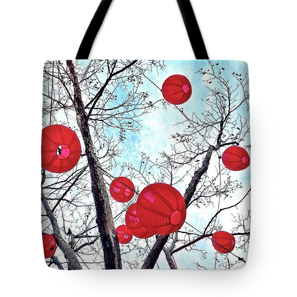 Redthursday_circles Tote Bag featuring the photograph Look Up by Julie Gebhardt