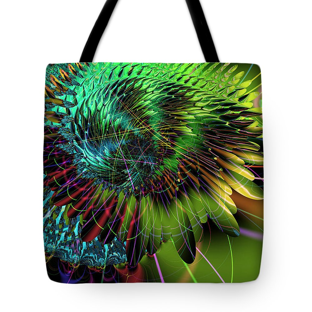 Abstract: Color; Abstract: Irregular Forms; Abstract: Organic; Animals: Birds Tote Bag featuring the digital art Iridescing Birdwing by Ann Stretton