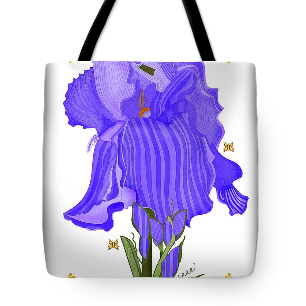 Iris Tote Bag featuring the painting Iris And Old Lace by Anne Norskog