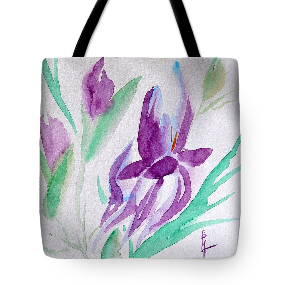 Iris Tote Bag featuring the painting Iris by Beverley Harper Tinsley