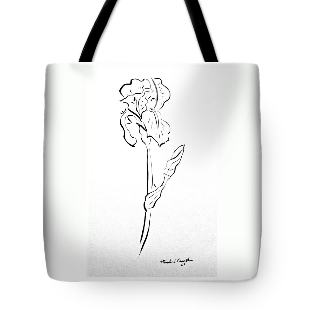 Abstract Tote Bag featuring the drawing Iris II by Micah Guenther