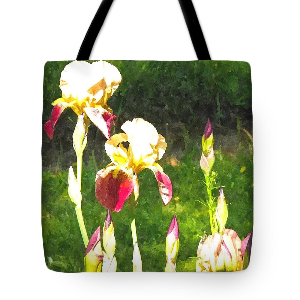 Iris Tote Bag featuring the photograph Iris In Watercolor by Nick Kirby