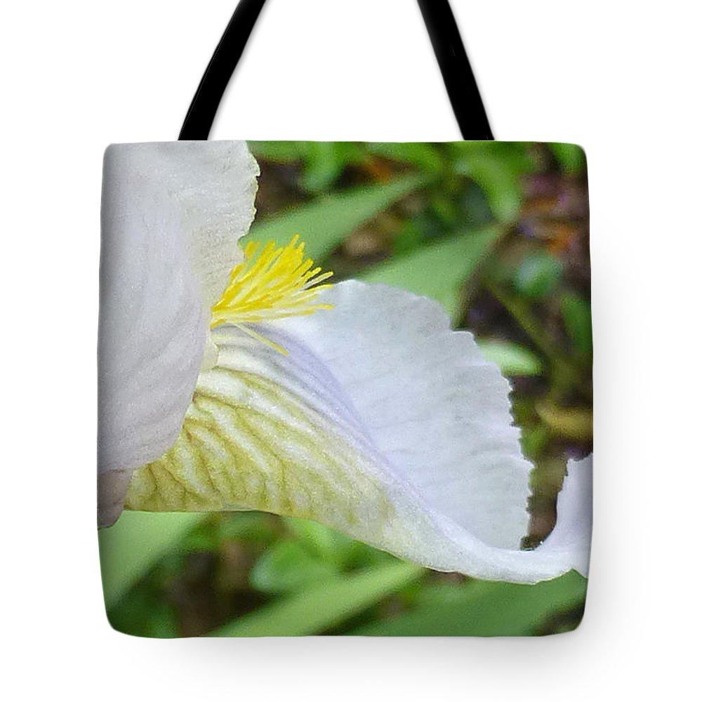 Flower Tote Bag featuring the photograph Iris Macro 2 by Claudia Goodell