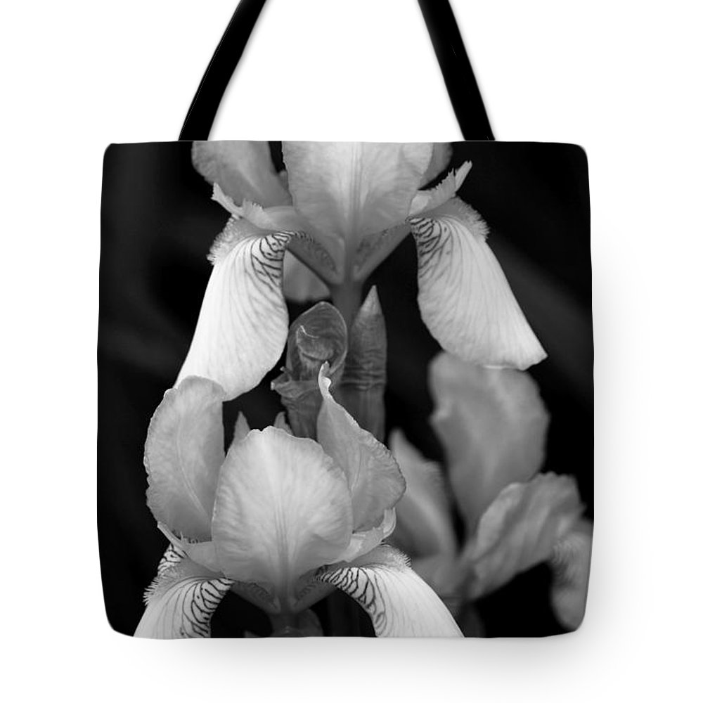 Iris Tote Bag featuring the photograph Irises In Black And White by Jeanette C Landstrom