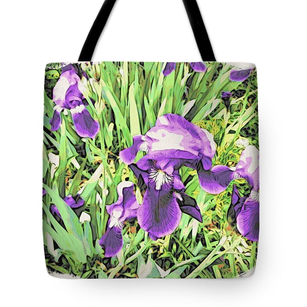Irises Tote Bag featuring the photograph Irises In The Garden by Alice Gipson