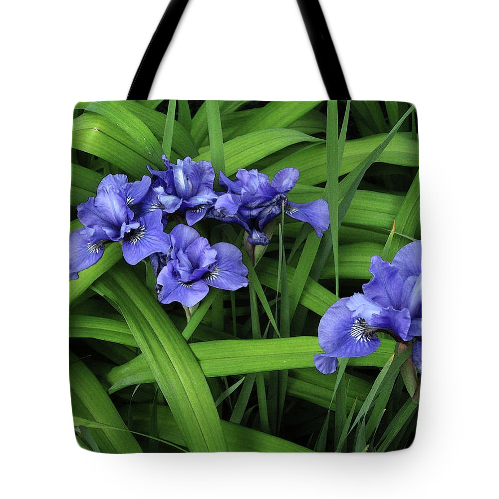 Iris Tote Bag featuring the photograph Irises by Mary Bedy