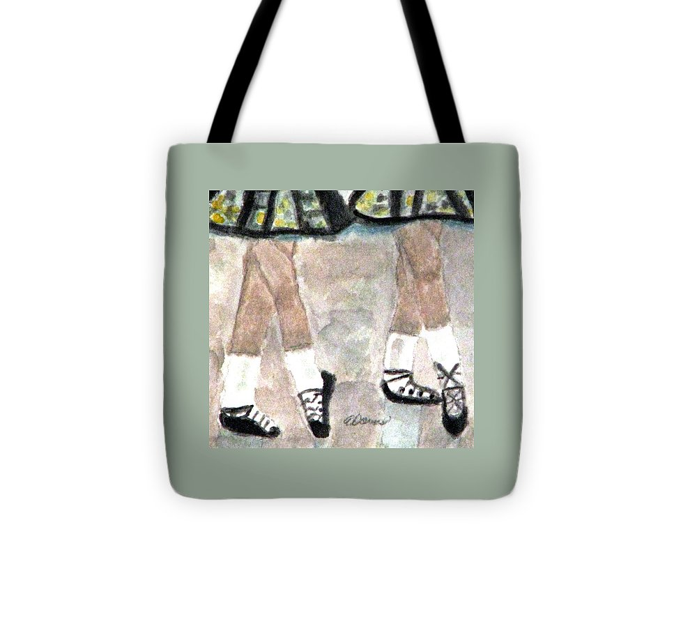 Dancers Tote Bag featuring the painting Irish Lasses by Angela Davies