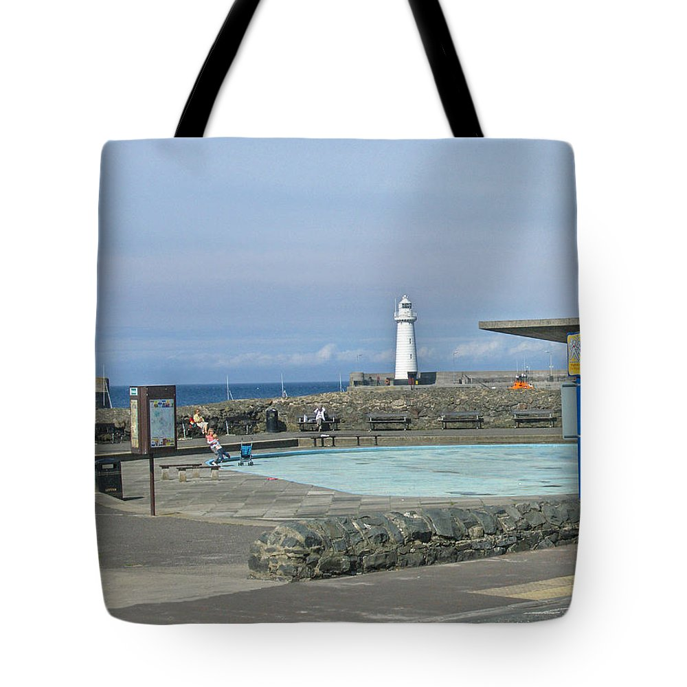 Irish Tote Bag featuring the photograph Irish Sea Lighthouse On Pier by Brenda Brown
