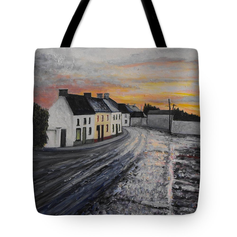 Irish Village Tote Bag featuring the painting Rathvilly After The Rain by Caroline Cunningham