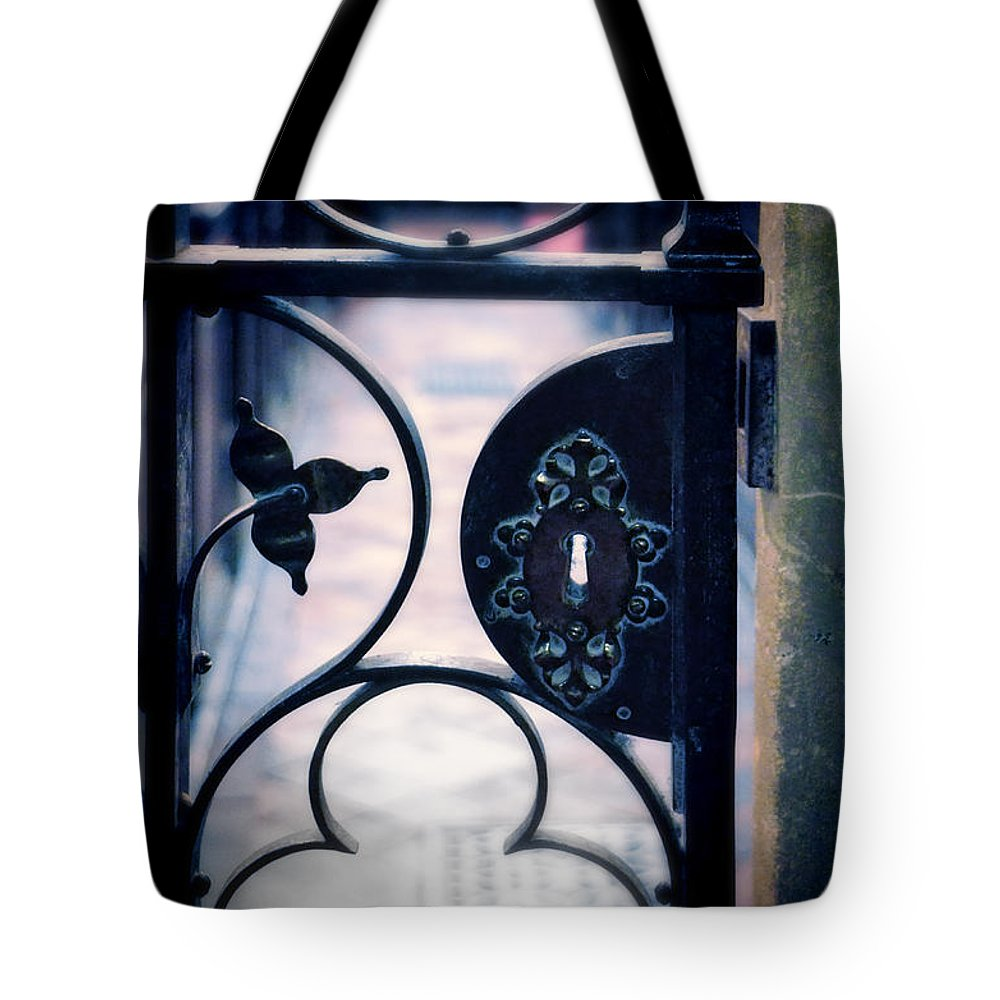 Fence Tote Bag featuring the photograph Iron Gate by Jill Battaglia