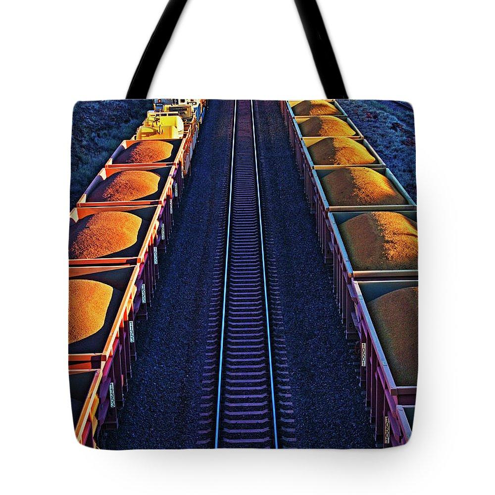 Rail Freight Tote Bag featuring the photograph Iron Ore Train, Karratha. Western by John W Banagan
