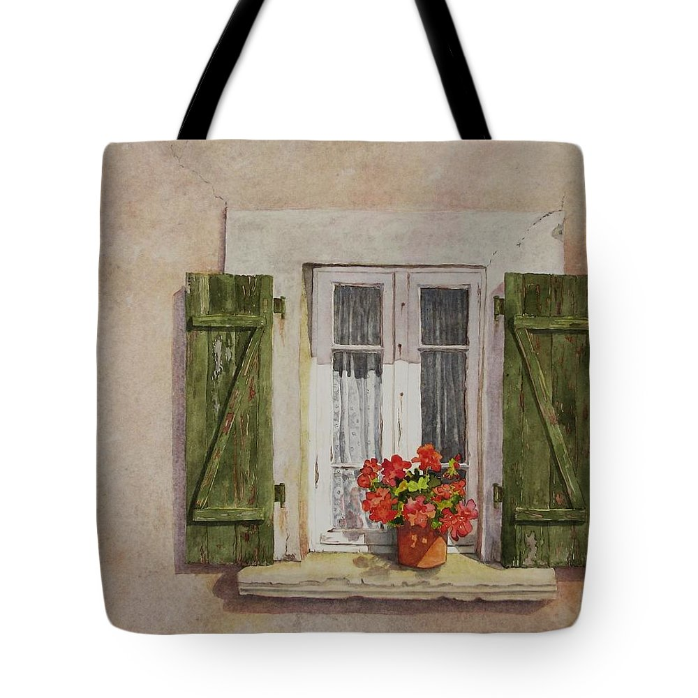 Watercolor Tote Bag featuring the painting Irvillac Window by Mary Ellen Mueller Legault