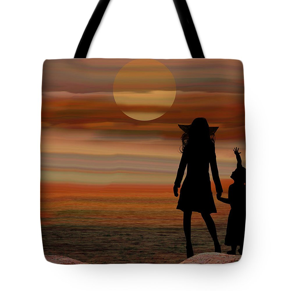 Sun Tote Bag featuring the digital art Is Daddy In Heaven Now - Featured In Contours And Silhouettes - Cards For All Occ -nature Wildlife by Ericamaxine Price