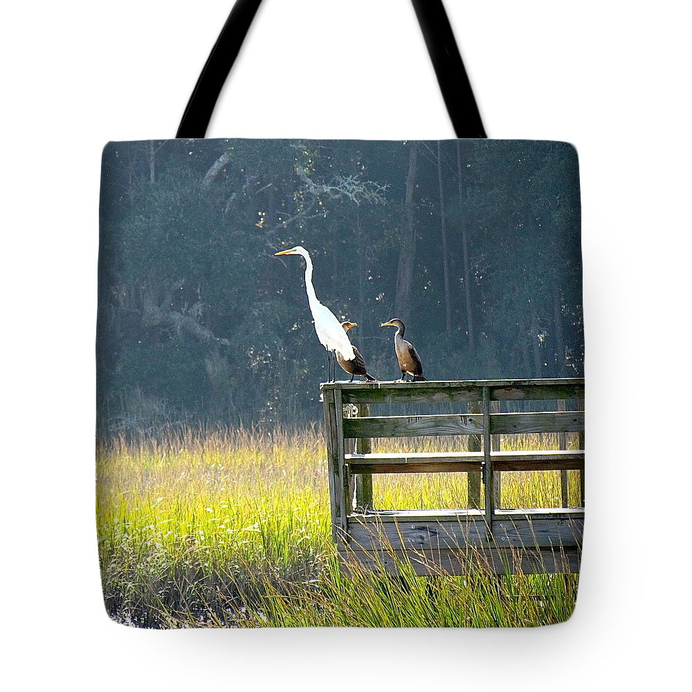 Murrells Inlet Tote Bag featuring the photograph Is That Daddy? by Anne Henderson