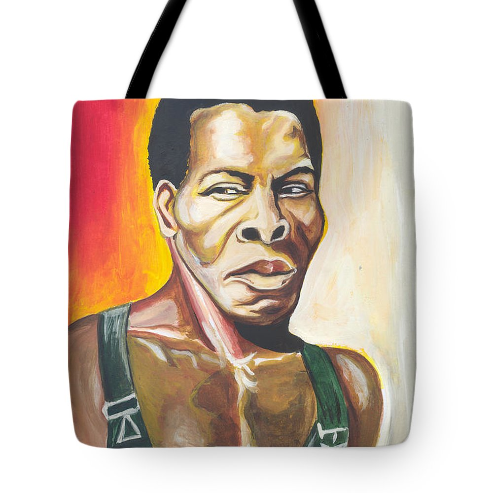 Actor Tote Bag featuring the painting Isaac De Bankole by Emmanuel Baliyanga