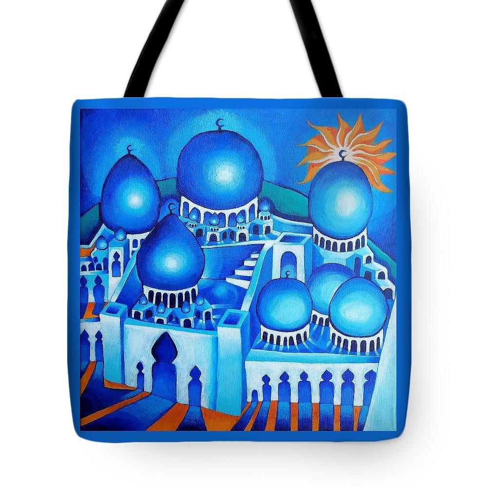Ishraq Tote Bag featuring the painting Ishraq by Corey Habbas