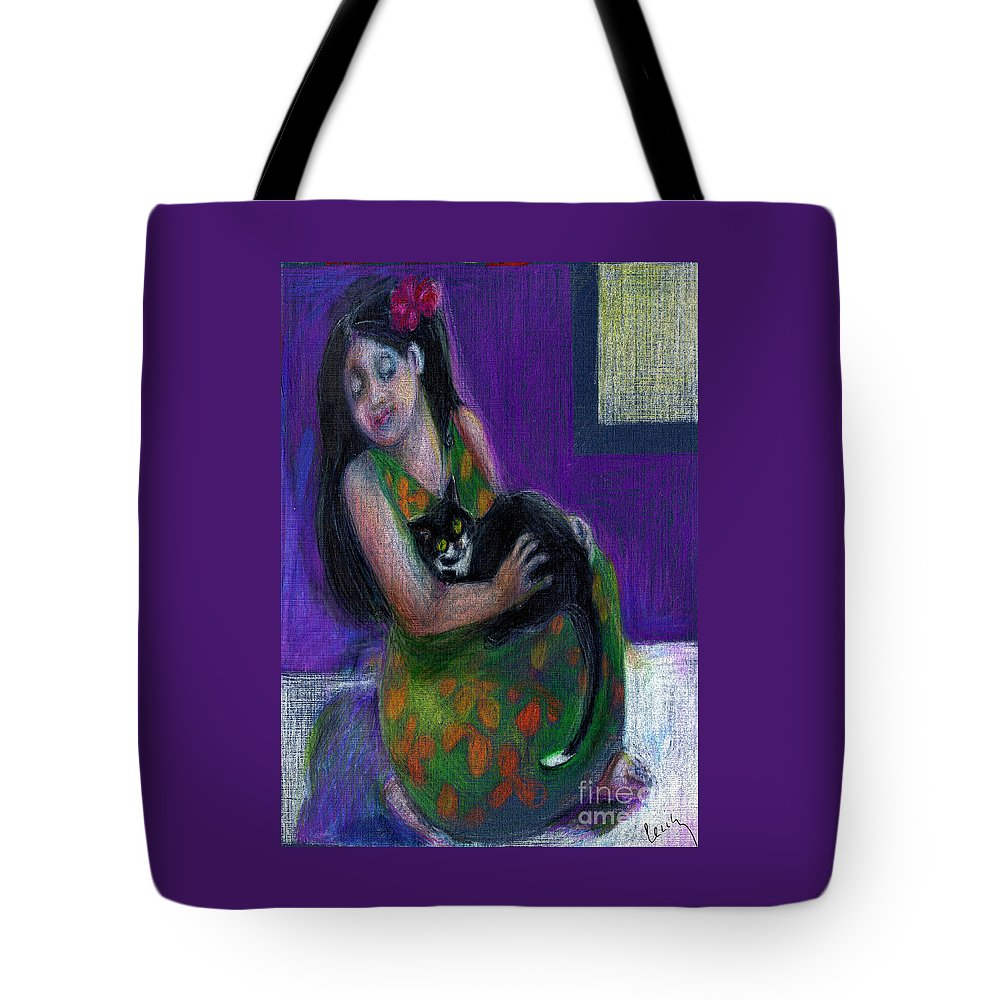 Girl Tote Bag featuring the pastel Island Girl And Cat by Cecily Mitchell