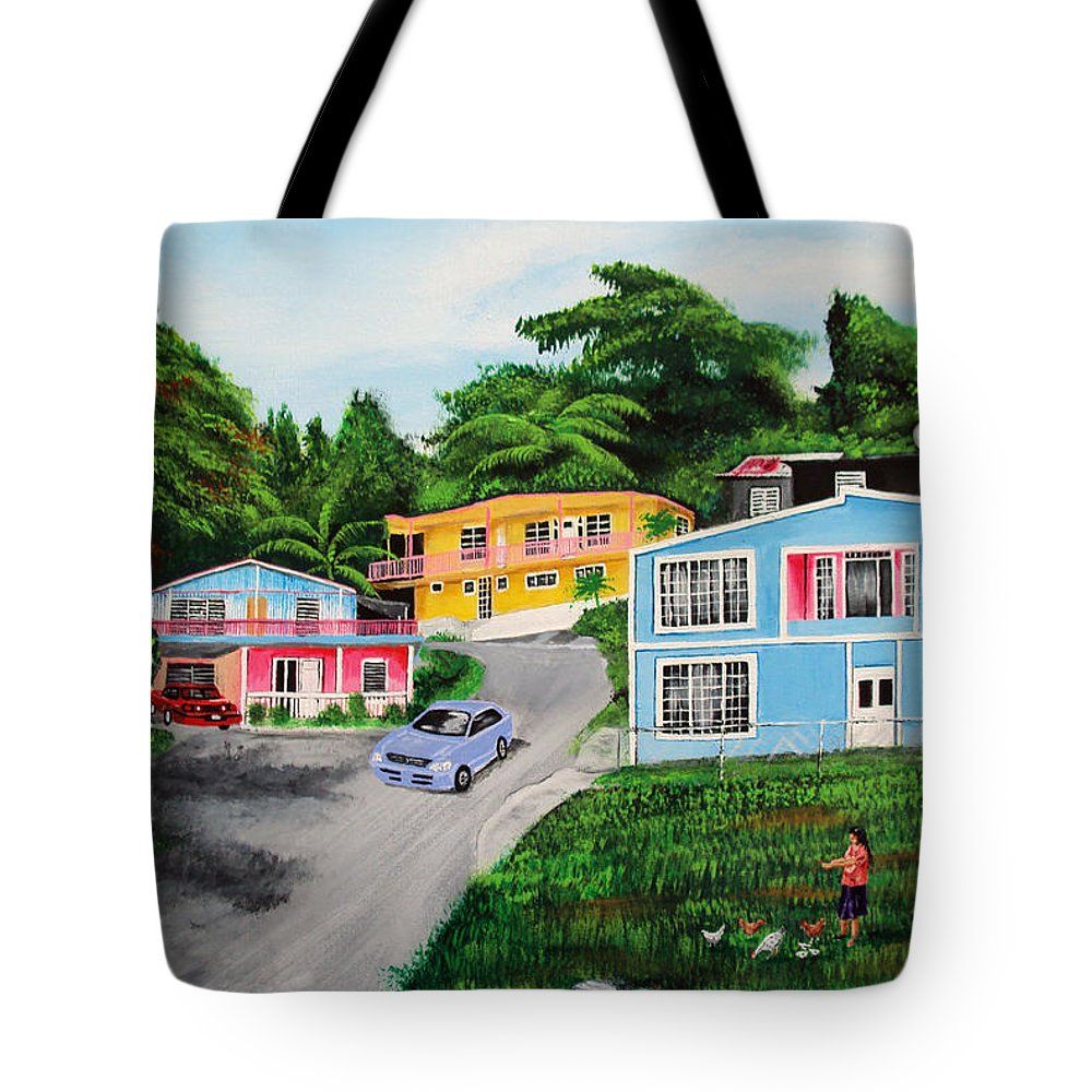 Loma Tote Bag featuring the painting Island Hillside Living by Luis F Rodriguez