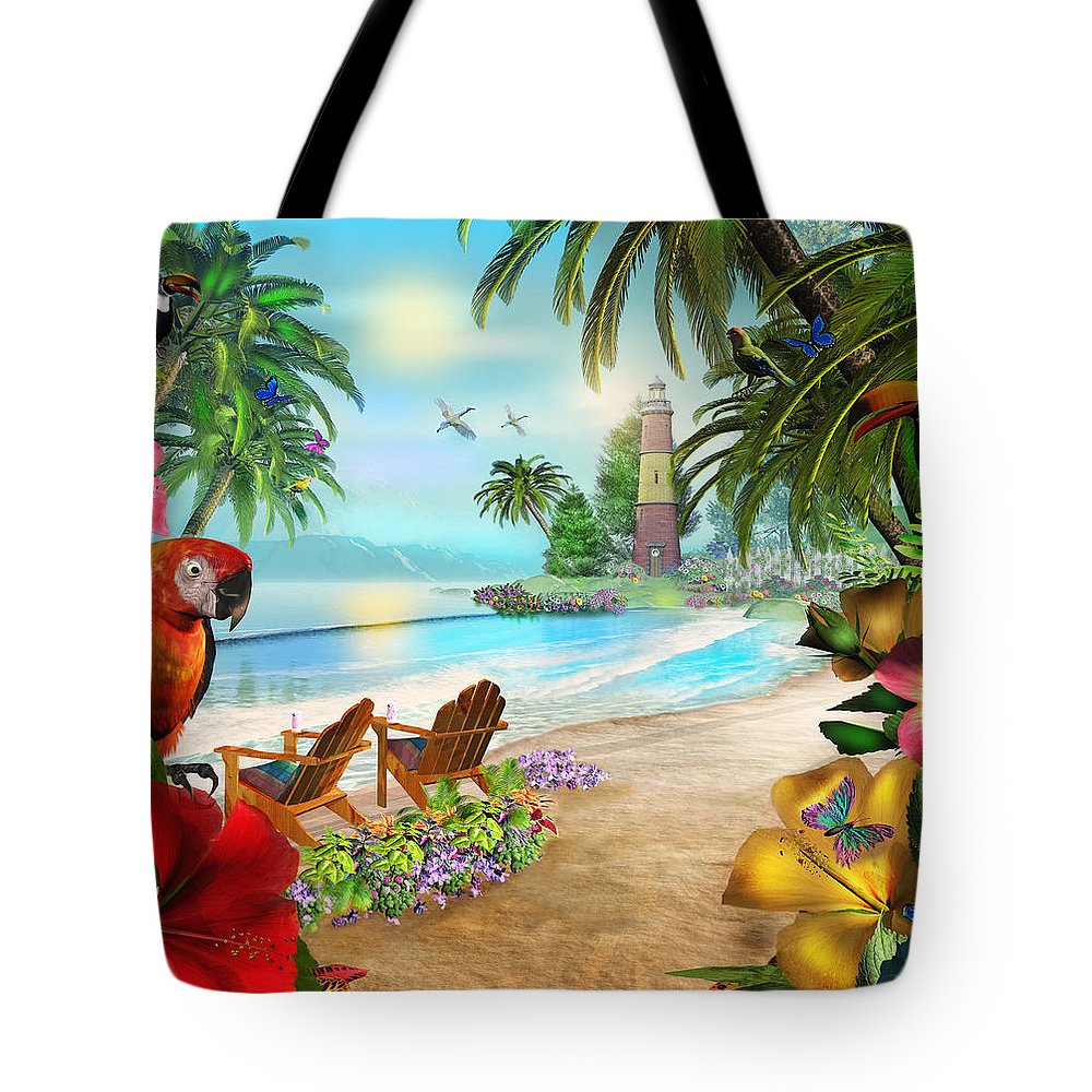 Art Licensing Tote Bag featuring the mixed media Island Of Palms by Caplyn Dor