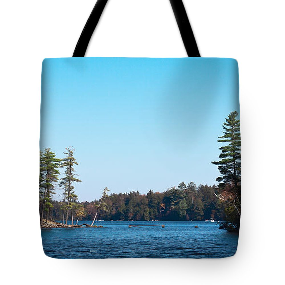 Adirondack's Tote Bag featuring the photograph Island On The Fulton Chain Of Lakes by David Patterson