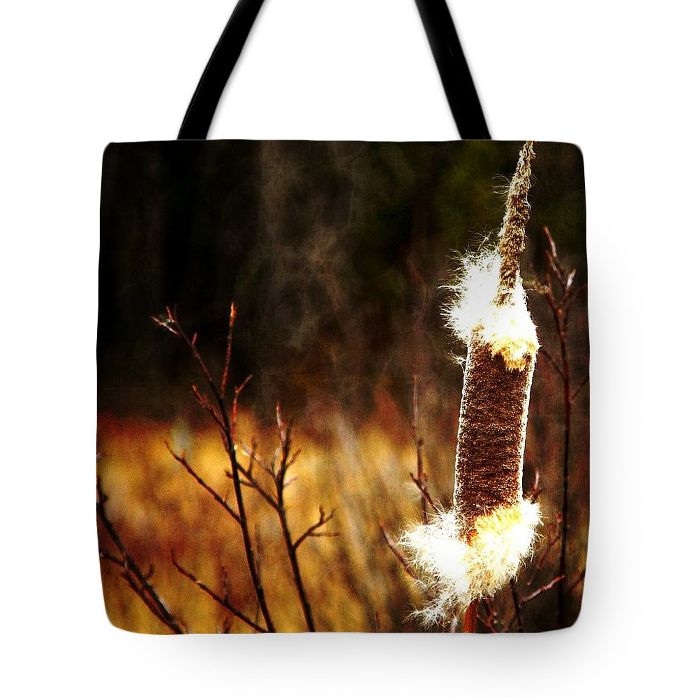 Island Park Tote Bag featuring the photograph Island Park Cattail by Image Takers Photography LLC