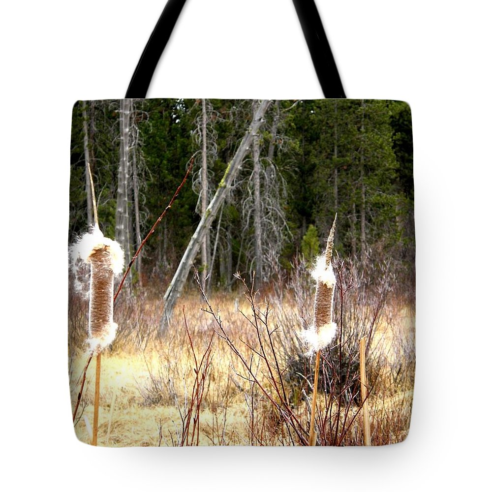 Island Park Tote Bag featuring the photograph Island Park Cattails by Image Takers Photography LLC