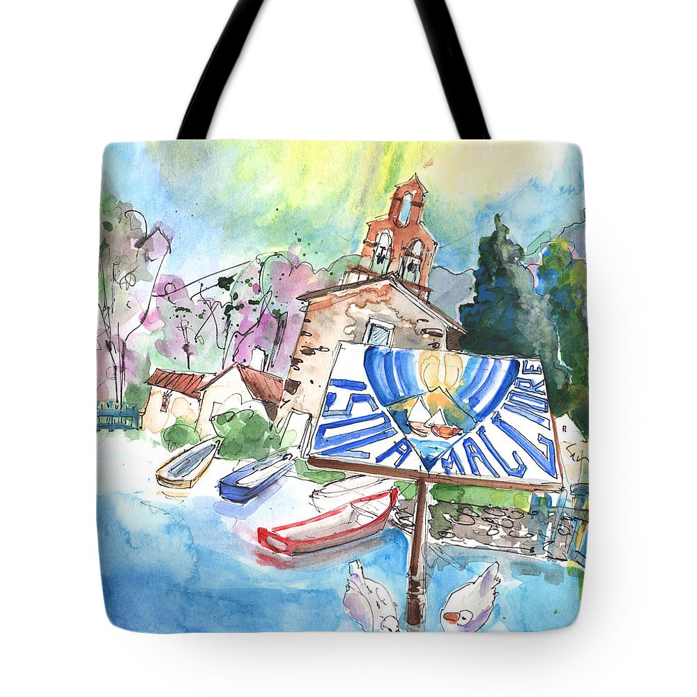 Italy Tote Bag featuring the painting Isola Maggiore In Italy 01 by Miki De Goodaboom