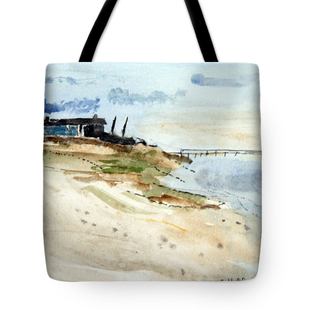 Nature Tote Bag featuring the painting Isolated Beach House by Michael Helfen