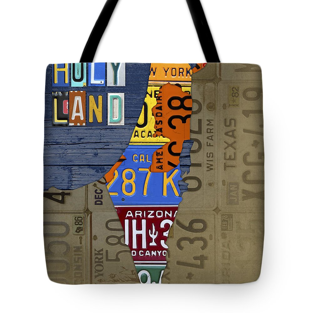 319285052a Israel Tote Bag featuring the mixed media Israel The Holy Land Map Made  With Recycled Usa