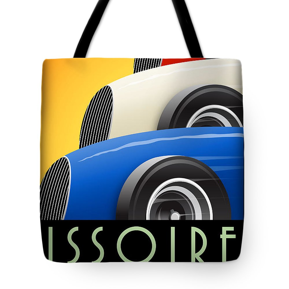 Issoire Tote Bag featuring the digital art Issoire France Grand Prix Historique by Georgia Fowler