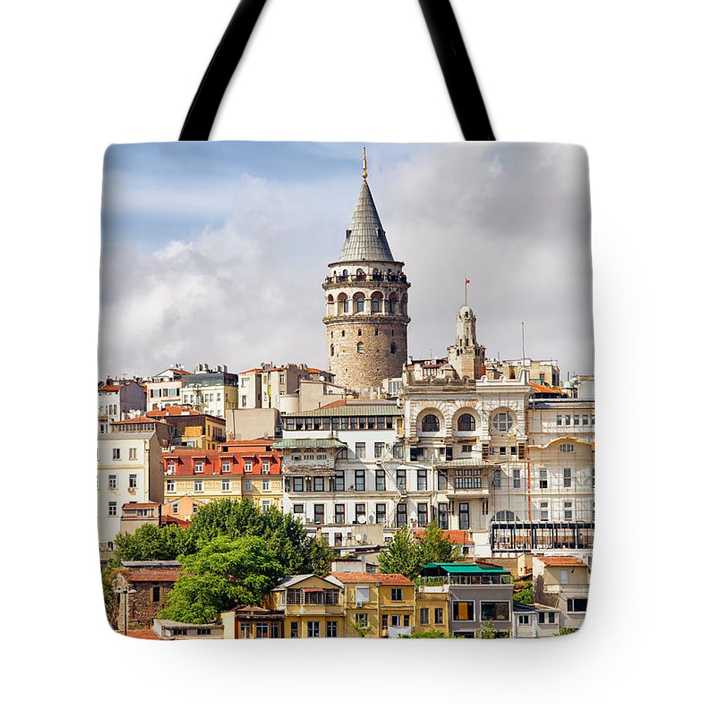 Galata Tote Bag featuring the photograph Istanbul Cityscape And Galata Tower by Artur Bogacki