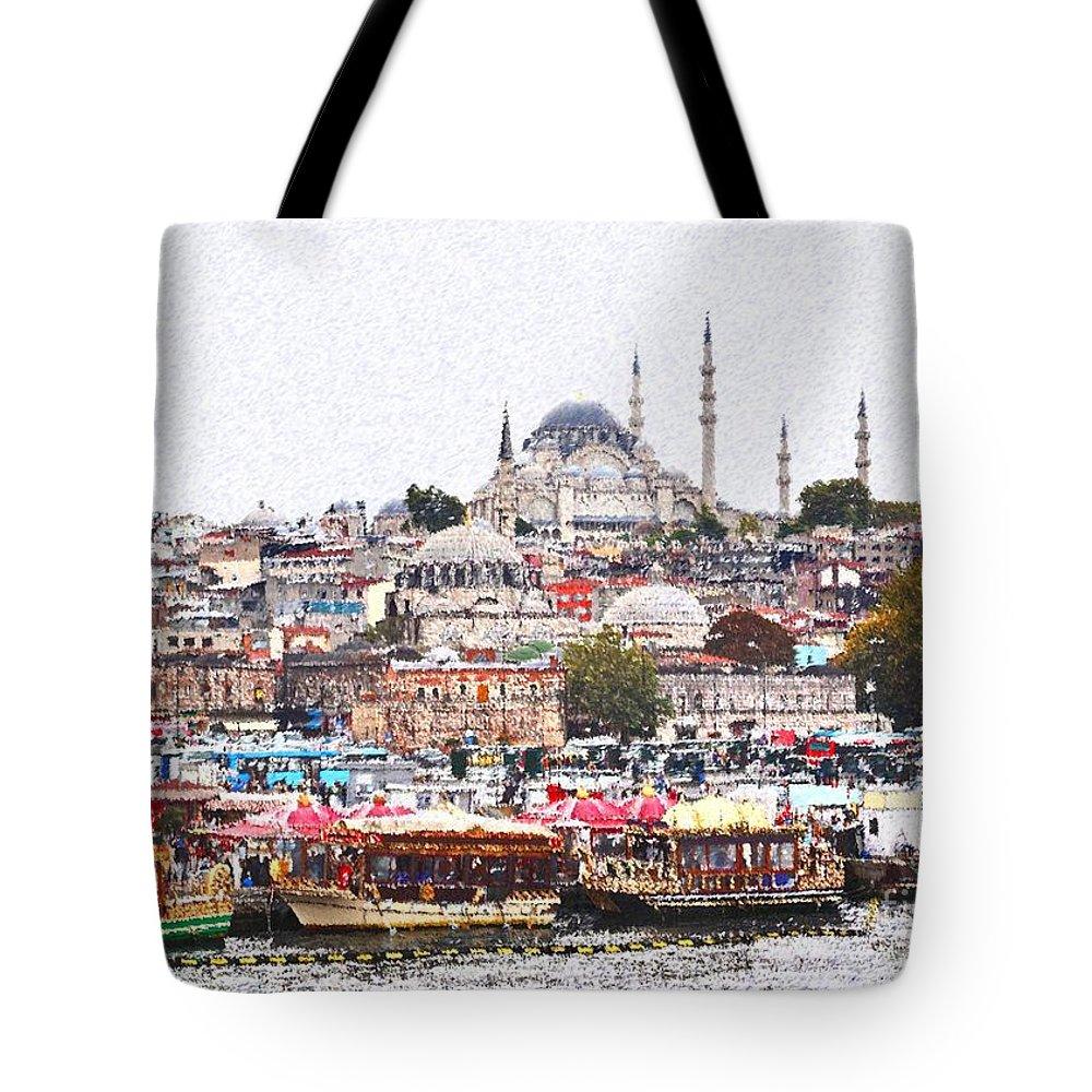 Istanbul Tote Bag featuring the digital art Istanbul by Dia Karanouh