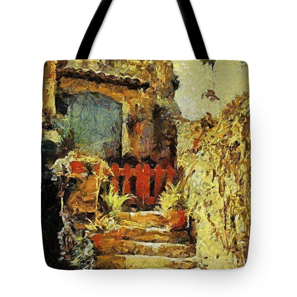 Landscapes Tote Bag featuring the painting Italian Courtyard by Dragica Micki Fortuna