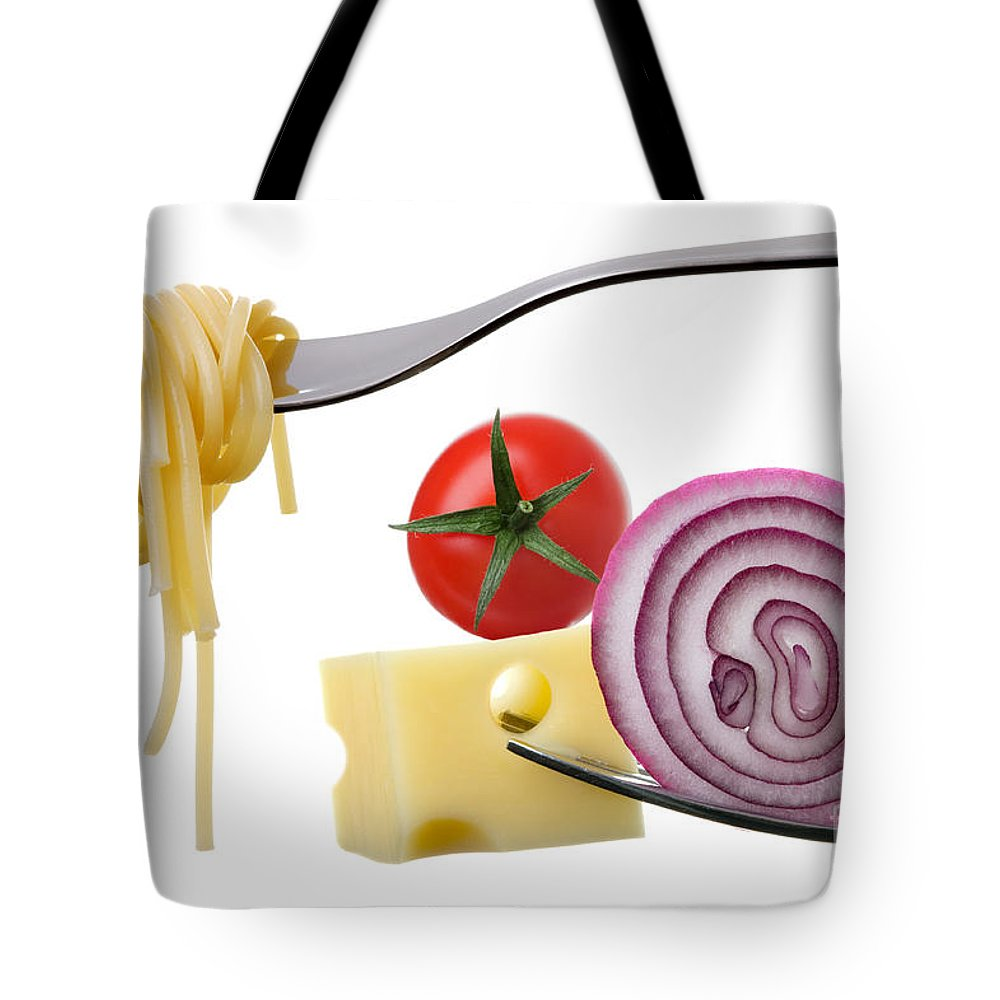 Spaghetti Tote Bag featuring the photograph Italian Food Ingredients On Forks Against White by Lee Avison