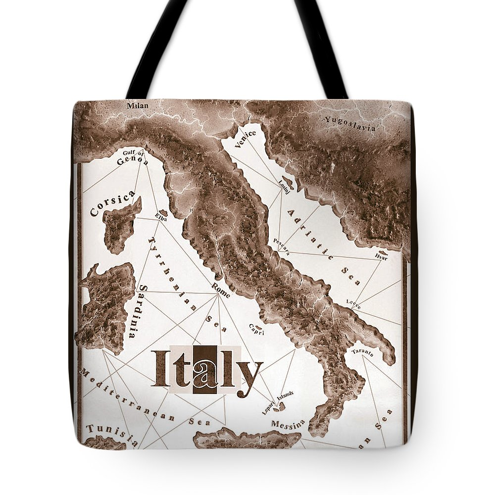 Italian Tote Bag featuring the mixed media Italian Map by Curtiss Shaffer