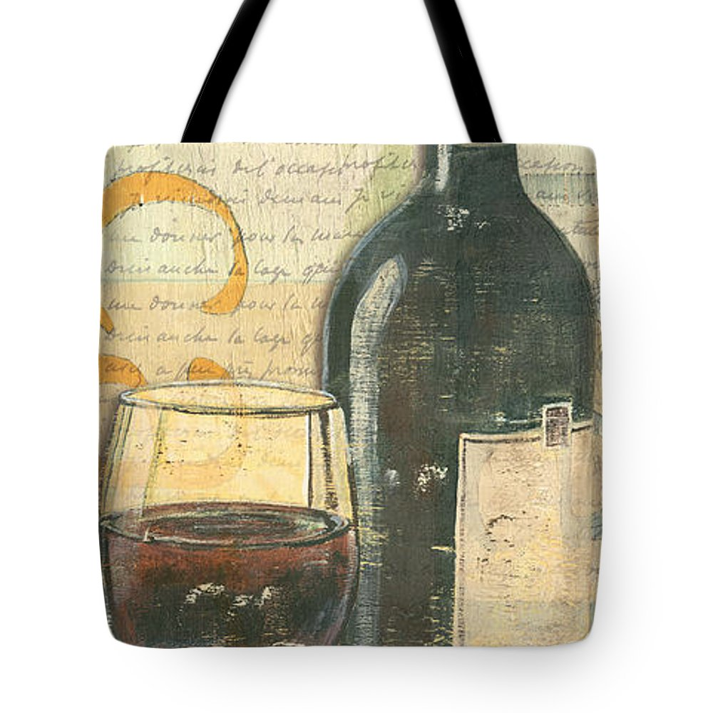 Wine Tote Bag featuring the painting Italian Wine And Grapes by Debbie DeWitt