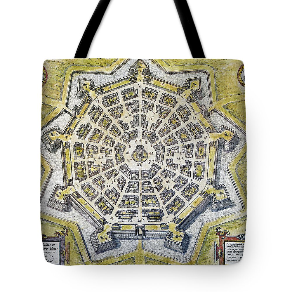 1598 Tote Bag featuring the photograph Italy: Palmanova Map, 1598 by Granger