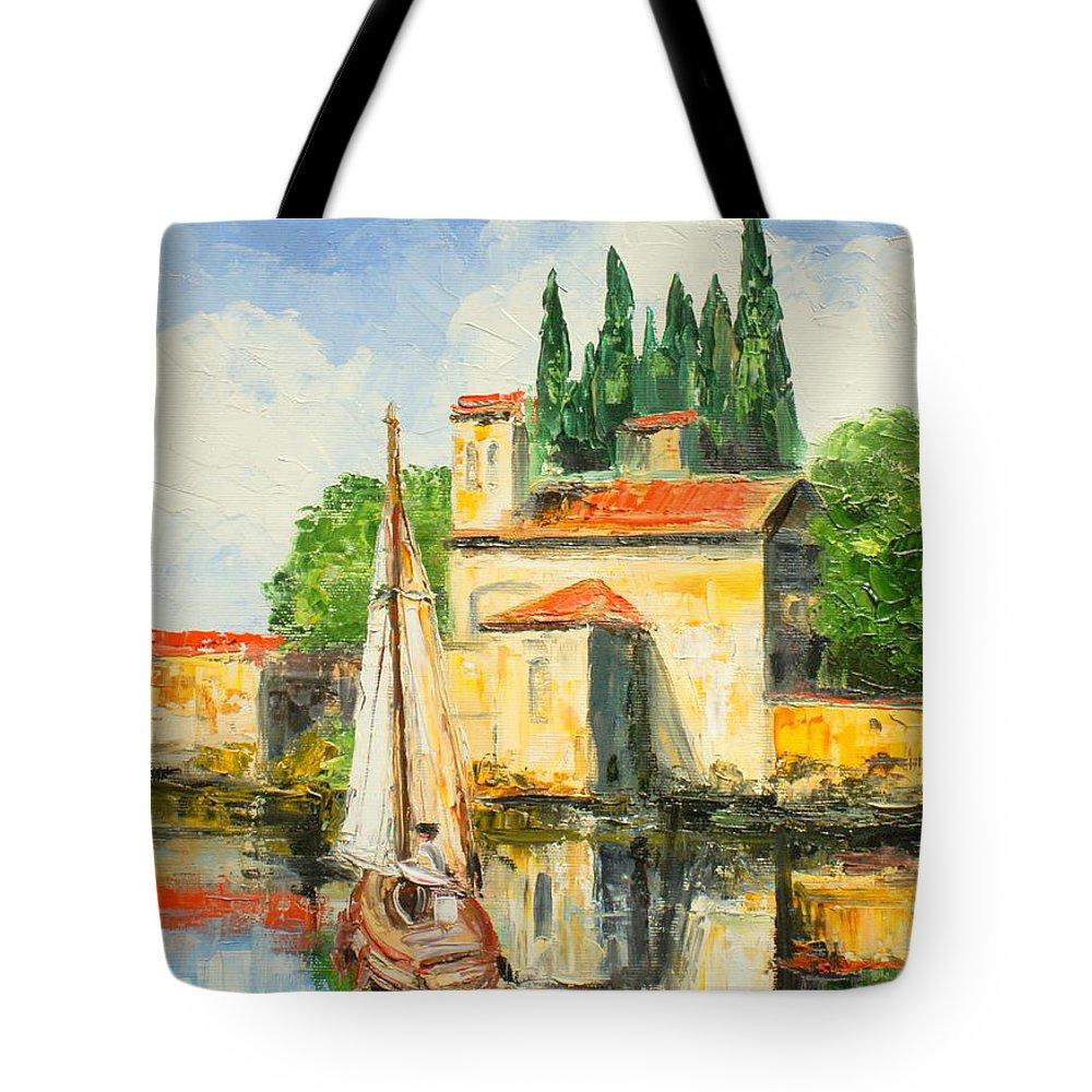 San Vigilio Tote Bag featuring the painting Italy - San Vigilio by Luke Karcz