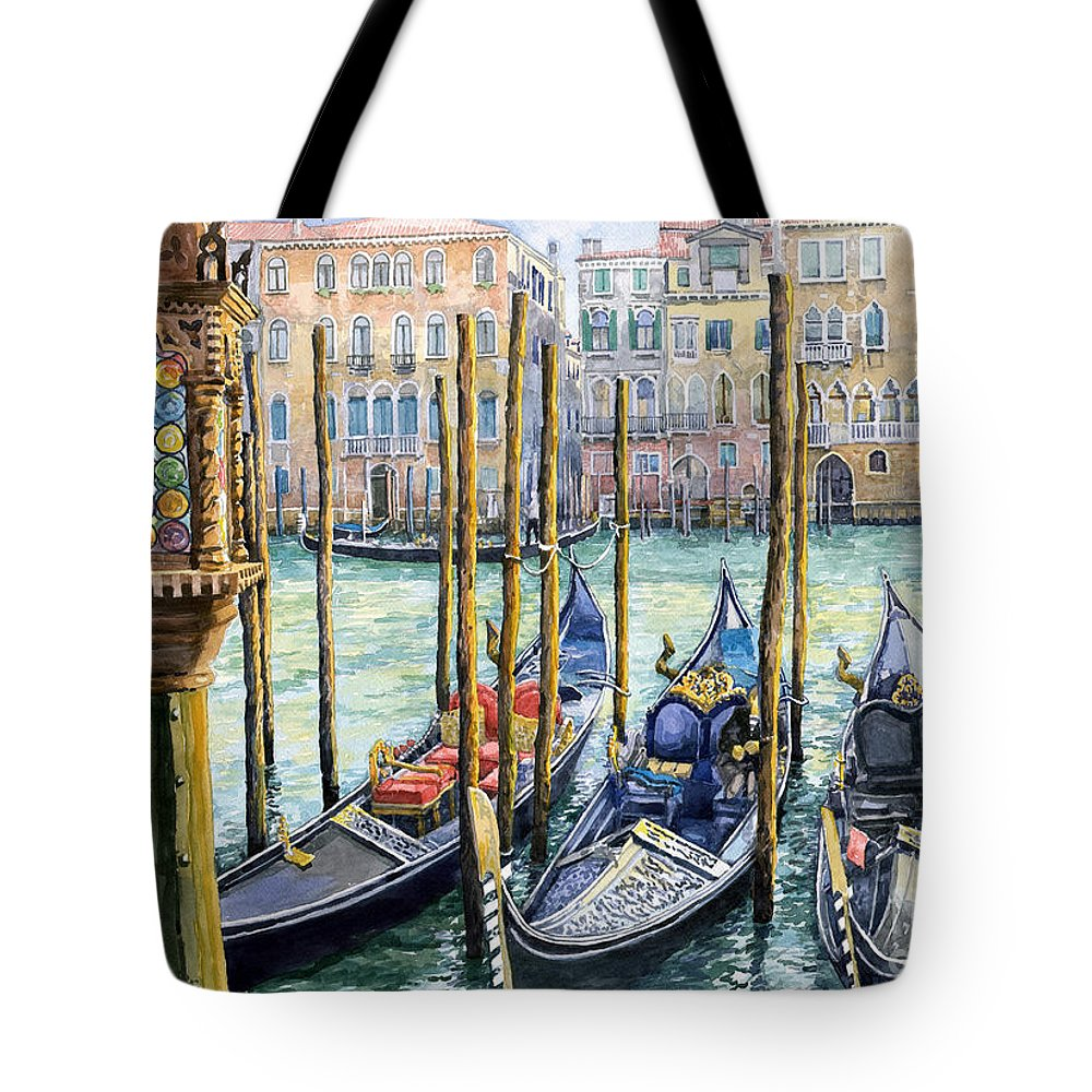 Watercolor Tote Bag featuring the painting Italy Venice Lamp by Yuriy Shevchuk