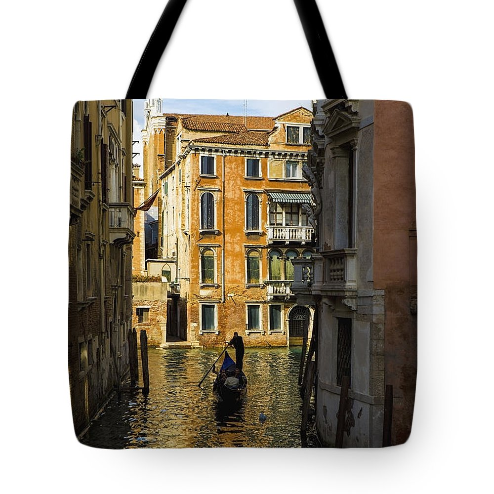 Building Tote Bag featuring the photograph Italy, Venice, Rowing Gondola by Richard Desmarais