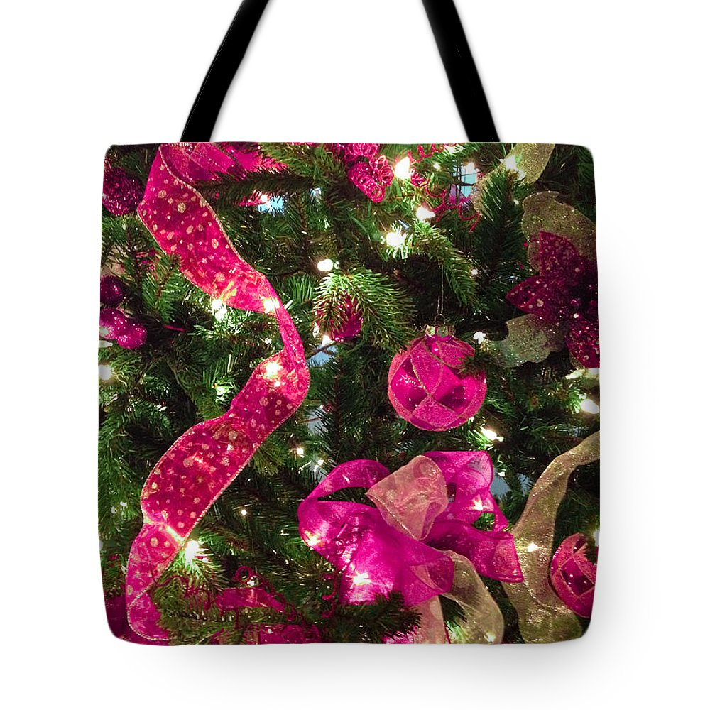 Optical Playground By Mp Ray Tote Bag featuring the photograph It's A Pink Christmas by Optical Playground By MP Ray