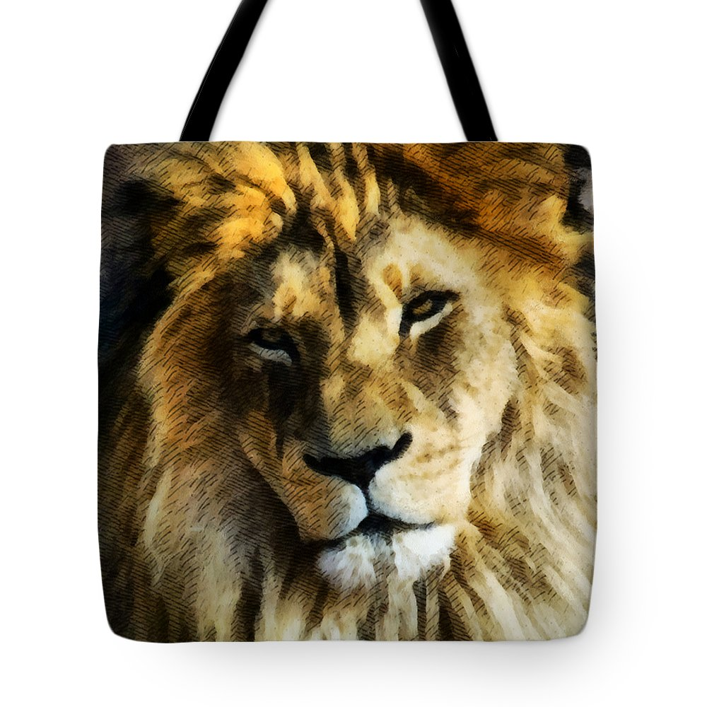 Lion Tote Bag featuring the mixed media Its Good To Be King Portrait Illustration by Angelina Tamez