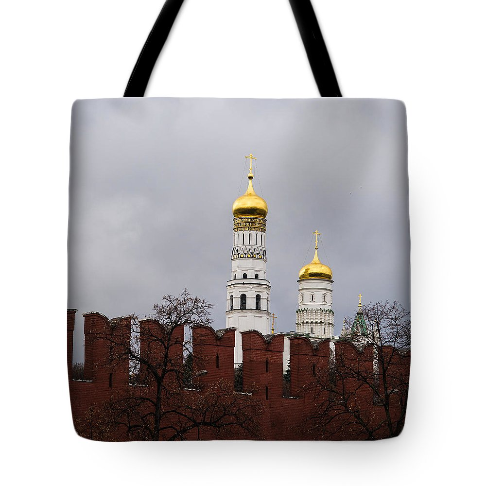 Architecture Tote Bag featuring the photograph Ivan The Great Belfry Of Moscow Kremlin - Square by Alexander Senin