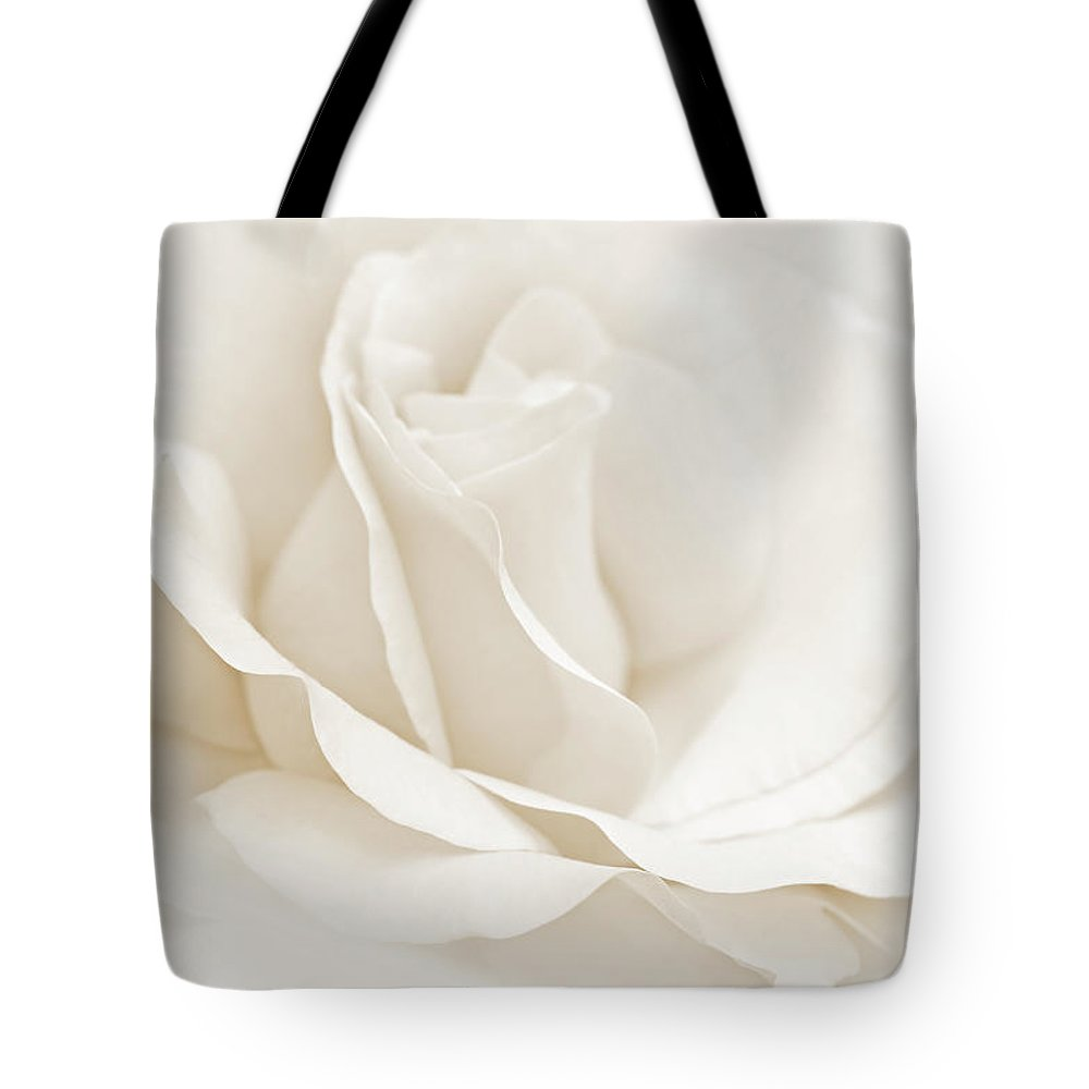 Rose Tote Bag featuring the photograph Ivory Ballerina Rose Flower by Jennie Marie Schell