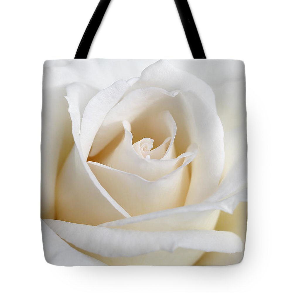 Rose Tote Bag featuring the photograph Ivory Rose Flower by Jennie Marie Schell
