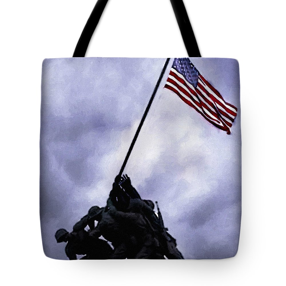 Battle Of Iwo Jima Tote Bag featuring the painting Iwo Jima Memorial by Bob and Nadine Johnston