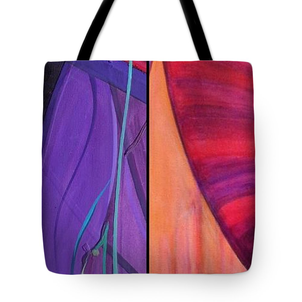 Diptych Tote Bag featuring the painting j HOT 13 by Marlene Burns