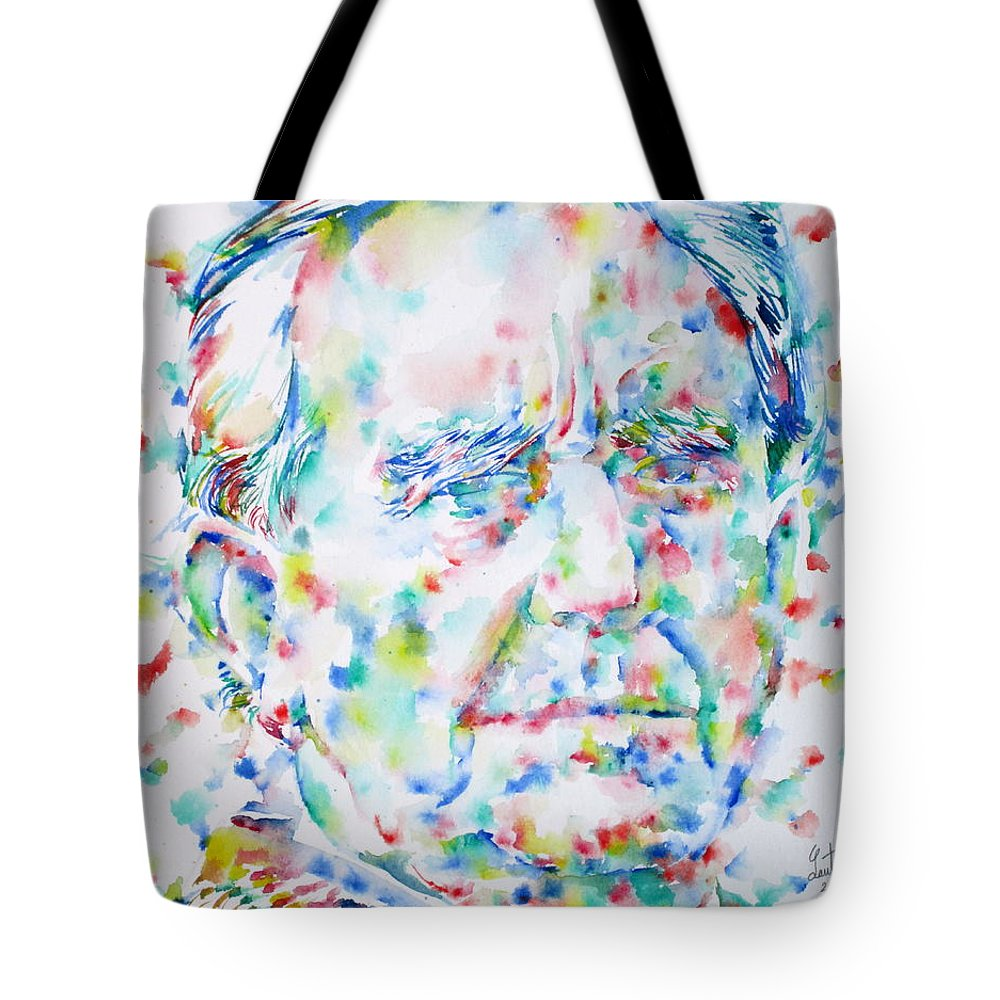 J. R. R. Tolkien Tote Bag featuring the painting J. R. R. Tolkien - Watercolor Portrait by Fabrizio Cassetta